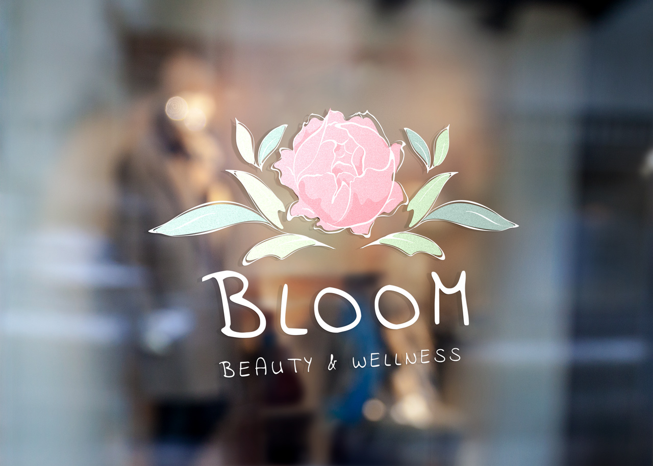 project bloom logo on glass store