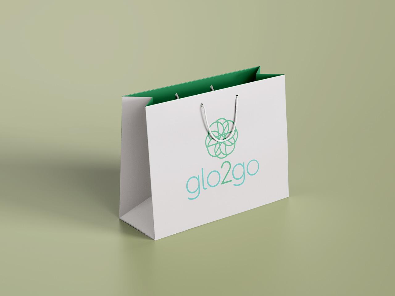 project glo2go logo on bag