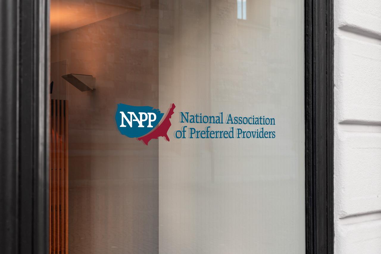 project napp logo on glass