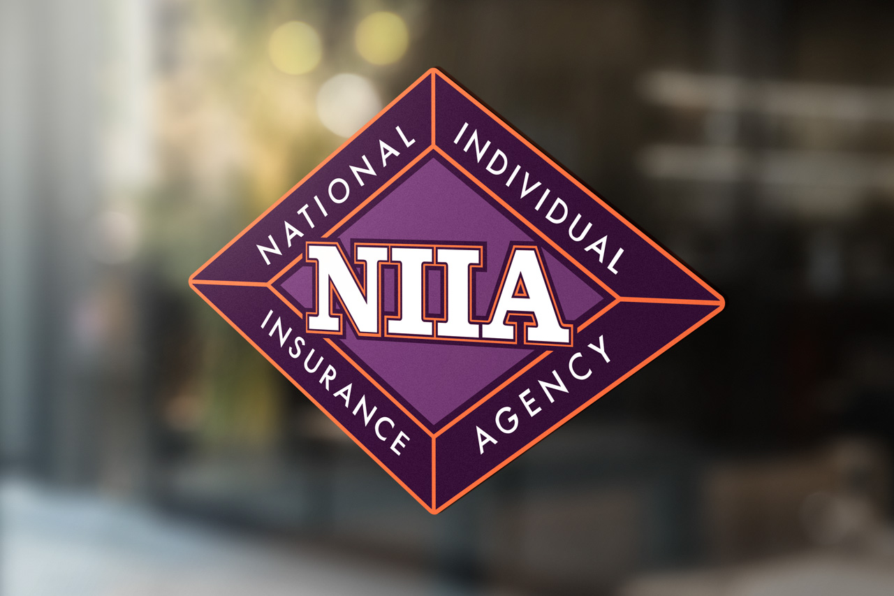 project niia logo on glass store